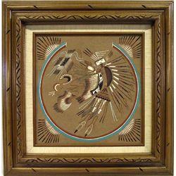Original Framed  Navajo Sand Painting by Jonah Begay