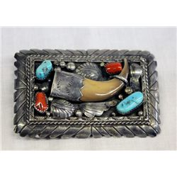 Navajo Sterling Turquoise Claw Belt Buckle