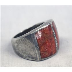 Navajo Sterling Inlay Red Shell Ring