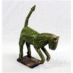 Antique Mexican Wooden Folkart Spotted Leopard