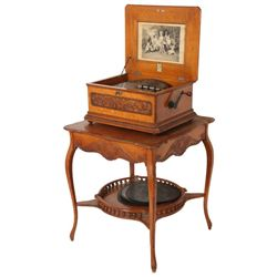 Oak Symphonion Music Box On Stand