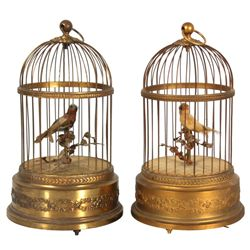 2 French Singing Birdcage Automatons