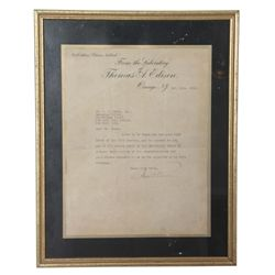 Thomas A. Edison Signed Letter