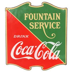 Coca-Cola Hanging 2 Sided Porcelain Sign