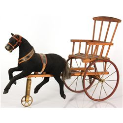 Folk Art Horse & Buggy Pull Toy