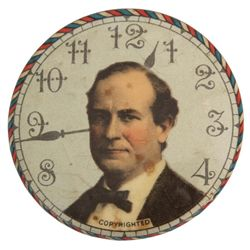William Jennings Bryant Clock Faced Button