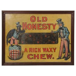 Old Honesty Chew Linen Advertising Sign