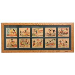 10 Pc. Framed Mickey Mouse Colored Prints