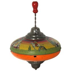 Large Tin Litho Whistling Toy Top