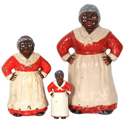 3 Cast Iron Aunt Jemima Figures
