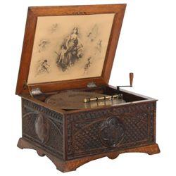 15.5 in. Regina Style 9 Oak Music Box