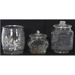 3 Glass Planters Peanut Jars