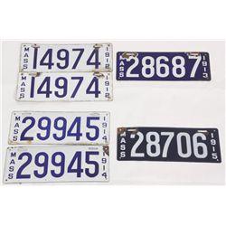 6 Massachusetts Porcelain License Plates
