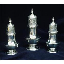 A SET OF THREE GEORGE II VASE SHAPED SIFTERS: one with blind cover  (for dry mustard), maker Rich
