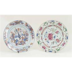 A FINE 18TH CENTURY IMARI PLATE: with decoration of flowers, scrolls  and bamboo, together with a