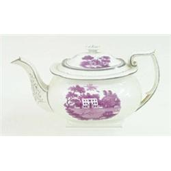 A 19TH CENTURY TEAPOT: transfer printed in puce views of stately  homes, cattle grazing, and with