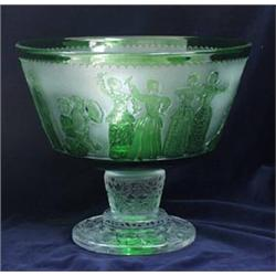 A FINE WEBB (CORNETT) CUT CRYSTAL AND ACID ETCHED LIMITED EDITION  PUNCH BOWL: with decoration of