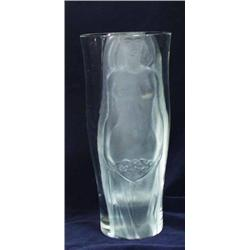 "A LEAD CRYSTAL VASE: with decoration of a sculpted frosted semi-nude  maiden, 12.25"" high £100-15"