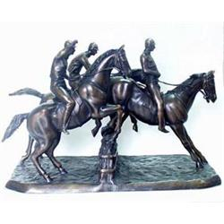 AFTER ISIDORE JULES BONHEUR AN EQUESTRIAN BRONZE: three race horses  at a fence, on a rectangular