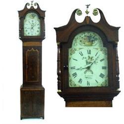 AN EARLY 19TH CENTURY LONGCASE CLOCK: by Thomas Turnbull of Whitby,  the case mahogany and birdse