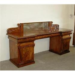 A FINE 19TH CENTURY FIGURED MAHOGANY PEDESTAL SIDEBOARD: the raised  back centred a mirror dividi