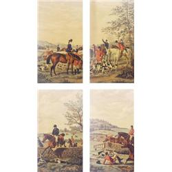 "FOUR VICTORIAN COLOURED HUNTING PRINTS: 13.25"" x 7.25"" (4) £30-50"