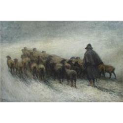 JOHN ROBERT KEITLEY DUFF (1862-1938) OIL ON CANVAS: Shepherd driving  his flock through a snow st