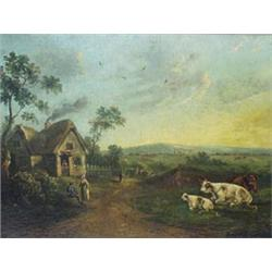 THOMAS HAND (1771-CIRCA 1804) OIL ON CANVAS: a rural landscape with  figures and cattle, signed a