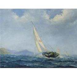 """JACK RIGG (b1927) OIL ON CANVAS: off Abersoch, North Wales, 1968, 15""""  x 9.75"""" £600-800"""
