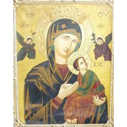 """A BYZANTINE STYLE ICON: The Holy Mother and Child flanked by Angels,  oil on canvas, 27"""" x 22"""" £2"""