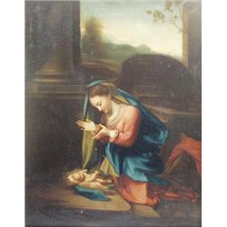 """ENGLISH SCHOOL (19TH CENTURY) OIL ON CANVAS: Madonna and Child, 31"""" x  25"""" £800-1200"""
