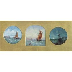 JAMES EDWIN MEADOWS (1828-1888) THREE SMALL OILS: (framed as  one) fishing boats off the coast £3