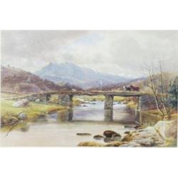 """J HARRISON (EXHIBITED 1865-1877) WATERCOLOUR: Snowdon, signed and  dated 1869, 9"""" x 13.25"""" £150-2"""