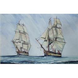 """J T CULPAN (20TH CENTURY) WATERCOLOUR: Sister Ships, 2 74's, signed  and dated '89, 14.5"""" x 21.75"""