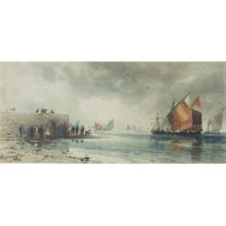 """MONOGRAMMED """"TBH"""" A WATERCOLOUR: fishing boats of the quayside,  signed and dated 1886, 5.75"""" x 1"""