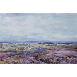 ROWLAND HENRY HILL (1873-1952) A WATERCOLOUR: moorland and coastal  scene, signed and dated 1924,