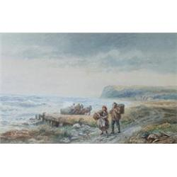 M B FOSTER (1825-1899) A WATERCOLOUR HEIGHTENED IN WHITE: coastal  scene, with figures on path an