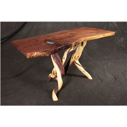Hand-Carved Walnut Sofa Table With Inlays and Twisted Juniper Base