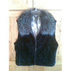 Sheared Mink Vest with Silver Fox Collar