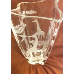 Etched Crystal Vase with Giraffe Scene