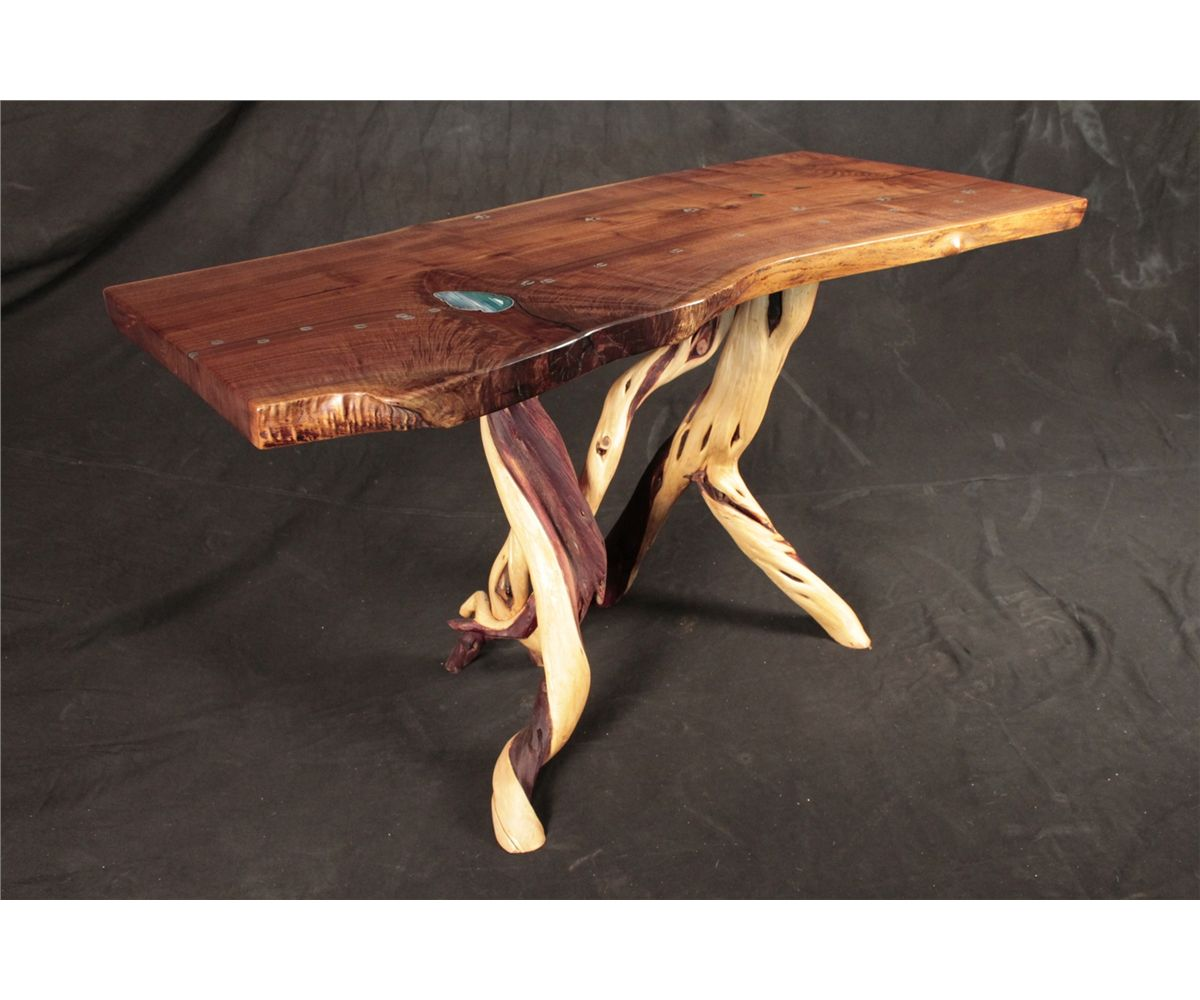 Image 1 : Hand Carved Walnut Sofa Table With Inlays And Twisted Juniper  Base ...