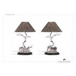 Pair of Solid Sterling Silver Desk Lamps with Guinea Fowl Feather Lamp Shades