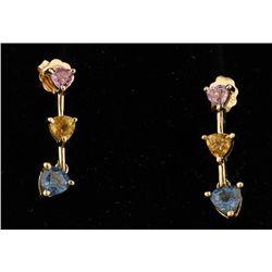 10K Multi-colored Sapphire Earrings