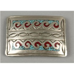 Silver Rectangle Buckle Inlaid with Turquoise