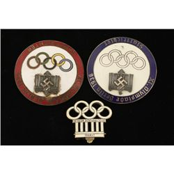 German WWII1936 Berlin Summer Olympics Badges