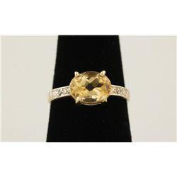 Lady's Citrine and Diamond Ring