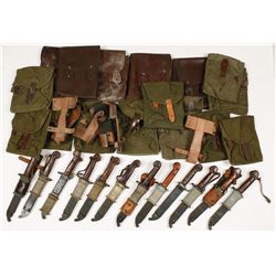 Lot of AK Bayonets, Leather Ammo Pouches