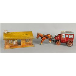 Overland Stage Coach Toy and Ranch House Toys