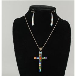 Zuni Inlaid Cross Necklace