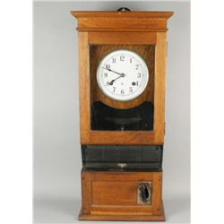 "Antique Oak Cased Time Clock by ""CTR"""